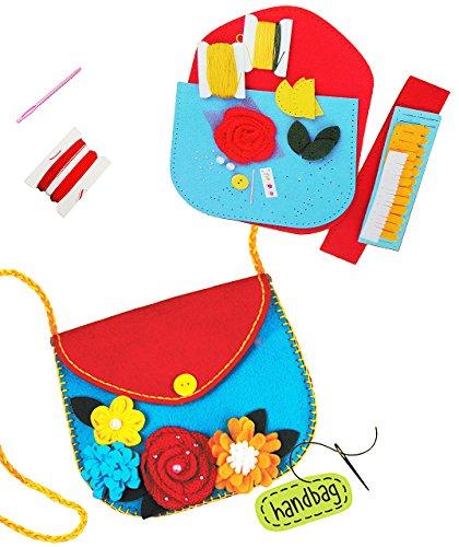alles-meine.de GmbH Bastelset - Filz Umhängetasche -  Blume & Blüten  - zum Sticken, einfaches Nähen per Hand - Tasche / Filztasche - Komplettset filzen - Creativ - Henkeltasch..