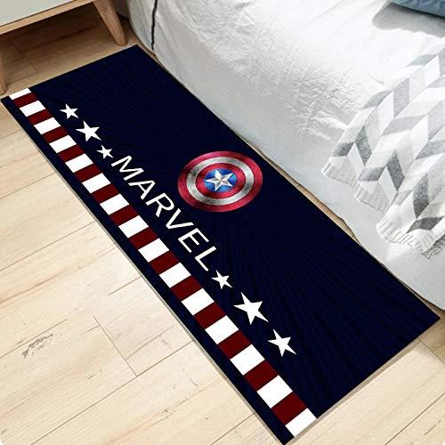 Teppich Kinder Schwarz Captain America Kreative 3D Cartoon Marvel Teppich Junge Anime Schlafzimmer Weiche Matte 50 * 160cm
