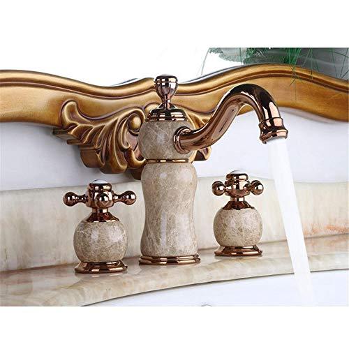 Grifo de Cocina Grifo de Lavabo Monomando Antiguo Rotación Grifo de Baño Válvula de Cerámica Grifo de Lavabo de Jade Antiguo Grifo de Lavabo Dividido de Baño Frío y Caliente de Cobre de Tres Piezas