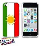 Carcasa Flexible Ultra-Slim APPLE IPHONE 5C de exclusivo motivo [Bandera Kurdistan] [Transparente] de MUZZANO  + ESTILETE y PAÑO MUZZANO REGALADOS - La Protección Antigolpes ULTIMA, ELEGANTE Y DURADERA para su APPLE IPHONE 5C
