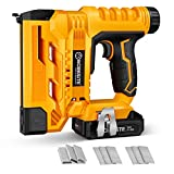 Cordless Brad Nailer/Stapler Kit, 18 Gauge 2 in 1 Cordless Nail/Staple Gun with 2.0A Battery, Charger, 1000pcs Nails and 1000pcs Staples for Home Improvement, Woodworking, WORKSITE