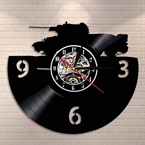 Militar tanque de vinilo disco reloj de pared arte ejército principal batalla tanque blindado guerra tierra decoración del hogar soldado regalo