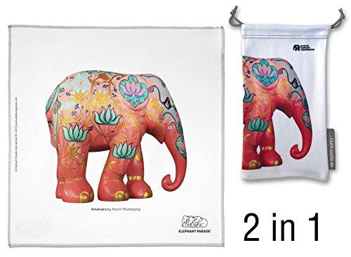 HAPPY WIPEY - Großes Premium Microfaser Brillenputztuch (25x25cm, waschbar) und Mikrofaser Aufbewahrungssäckchen(10x18cm) mit Elephant-Parade-Motiv auch für Smartphone-Displays