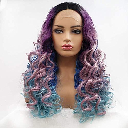 nakw88 Peluca Femenina Púrpura-Azul Oscuro-Azul Degradado Pelo Largo Peluca rizada se?Oras Encaje Hecho a Mano Europa y Conjunto de Peluca en Conjunto de Peluca