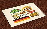 Set di 4 tovagliette tedesche, birra con salsiccia di grano dell'Oktoberfest e salatini colorati disposizione bavarese, tovagliette in tessuto lavabile per la decorazione della tavola d