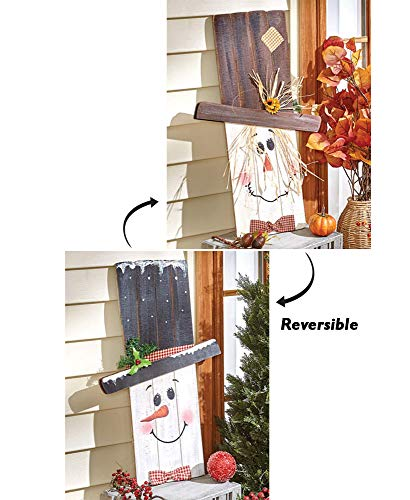 2-in-1 Fall & Winter Reversible Seasonal Greeter Décor, One Side Features A Scarecrow, While The Other Features A Snowman