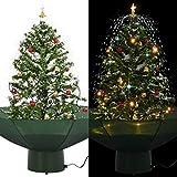 vidaXL Albero di Natale con base di ombrello, palline di neve a LED, albero di Natale artificiale, albero di Natale, albero decorativo, neve, verde, 75 cm