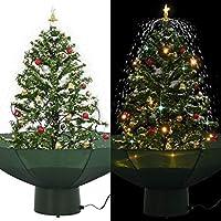 Design accattivante per la neve che cade Colore: verde (albero) + bianco (neve) + rosso e oro (decorazione). Materiale: PVC (albero) + poliestere (ombrello + plastica (decorazioni) Altezza complessiva: 75 cm. Diametro supporto: 18,5 cm.