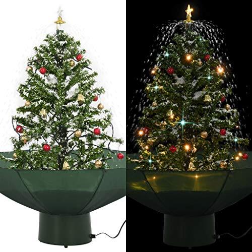 vidaXL - Albero di Natale con base per ombrellone, sfere di neve con luci a LED, albero di Natale, albero di Natale, albero di Natale, albero di Natale, albero decorativo, neve, verde, 75 cm