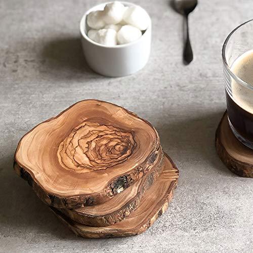 Juego de 4 posavasos rústicos de madera de olivo para café, té/vino/whisky/bebida