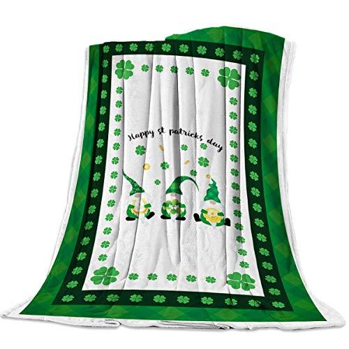 Manta de Franela 200X150cm,Manta Felpa Suave Shaggy Fleece, Lavable a máquina, Manta de Tiro para niños Adultos Manta de Franela Impresa (Trébol)