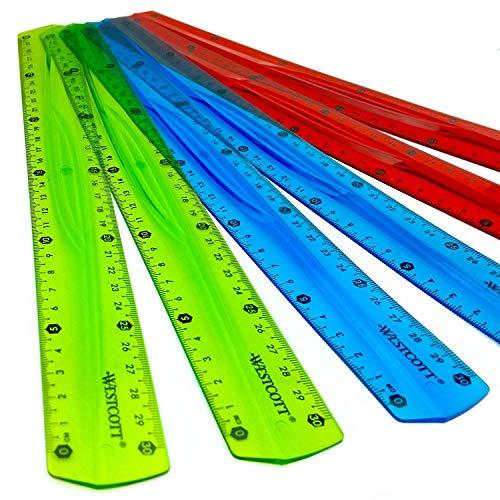 Westcott, righello da 30cm,traslucido, infrangibile e flessibile, confezione da 6, in 3colori assortiti