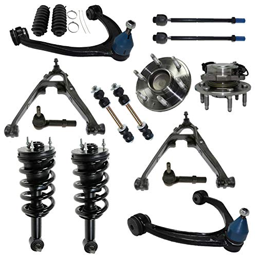 Detroit Axle - 2WD Front Struts + Wheel Hub Bearing + Control Arms w/Ball Joints Tie Rods Sway Bars Replacement for 2007-2013 Silverado Sierra 1500-16pc Set