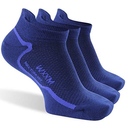 WXXM No Show Socks, Women Non Slip Athletic Running Sock Merino Wool Low Cut Socks 3 Pair