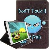 iPad Air Hülle [mit kostenlosen Kopfhörer], Milliarden Farbe Alle Arten von Cartoon-Muster PU Leder Flip Hülle Brieftasche Schlank Ständer Schutzhülle für Apple iPad Air (Zorn) -