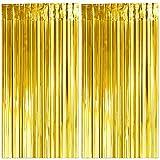 Decoracion Nochevieja 2021, 2 Cortinas Metálicas Oro, Cortina de Lámina, Oropel Franjas Decoración Fondo para Fiesta de Cumpleaños Bodas -2 x 2.5m-