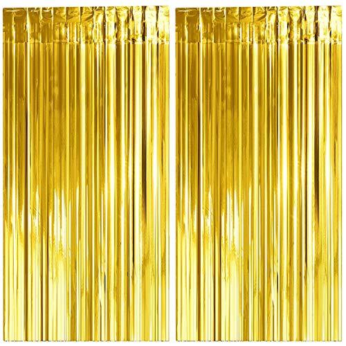 Jonami Silvester Deko 2021, 2 Lametta Vorhänge Gold, Folie Fransen Vorhang Schimmer, Metallic Tinsel Vorhange Hintergrund Fringe Glitzervorhänge Fransenvorhang Metallfolie fur Geburtstagsdeko -2stk-