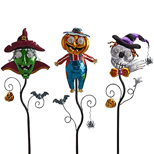 Green Goblin, Jolly Scarecrow and Skeleton Solar Light Stakes