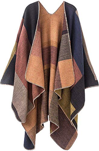 Shmily Girl Damen Poncho Herbst Winter Kariert Capes Patchwork Strickjacke Mehrere Funktion (One Size, Plaid/Kakhi)