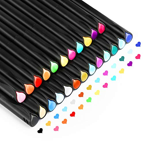 Fineliner Stifte, Gifort 24 Farben Journal Stifte Set, 0,4 mm Feine Filzstift Fineliner Stiften pigment Liner Set mit 10 Schablonen zum Malbuch, Zeichnen, Schreiben, Skizzieren, Illustrieren