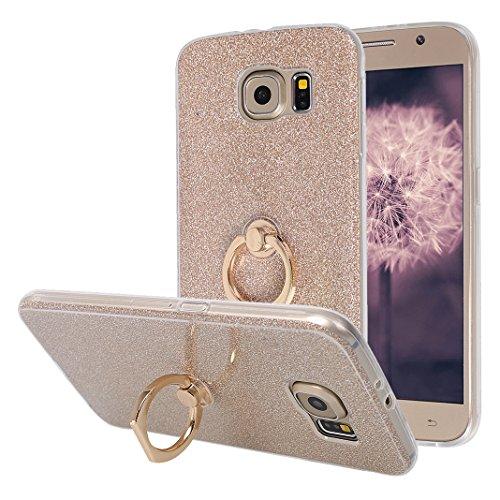 Galaxy S6 Hülle Ring, Moon mood [Weiche TPU Abdeckung + Glitzer Papier] 2in1 Hybrid Hülle mit 360° Kickstand Finger Griff Halter Hülle für Samsung Galaxy S6 G9200 Durchsichtige Handyhülle Case