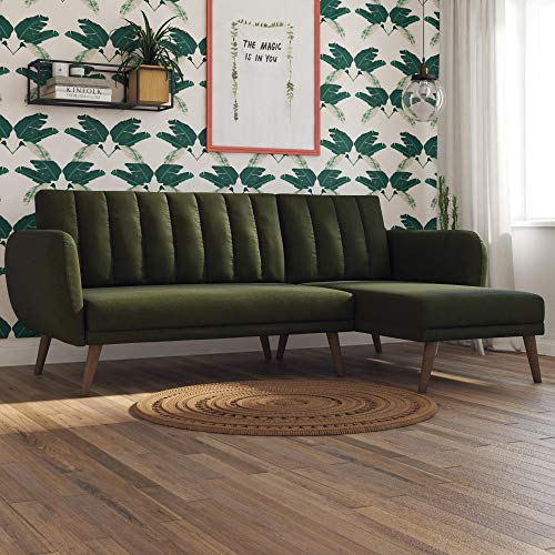 Novogratz Brittany Sectional Futon Sofa, Converts from Sofa & Chaise Lounger to Bed, Green Linen