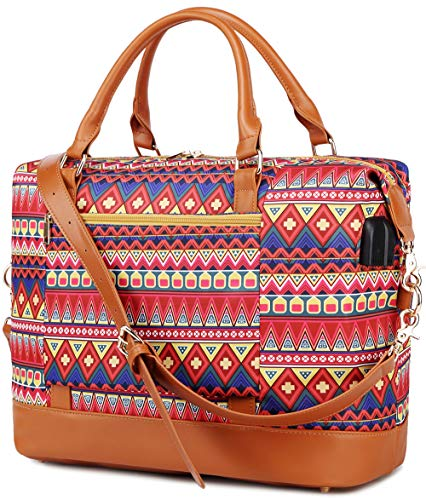 Bolso de Viaje Mujer de Mano Impermeable Bolso de Compras Grande Bolsa de Deporte Duffle Bag con Puerto USB para Weekender Señoras Compras, Viajes, Gimnasio, Citas (Rojo Bohemio)