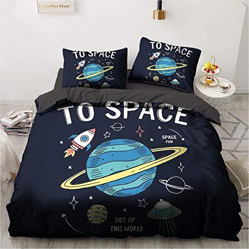 SSIN - Ropa de cama infantil - 3D Space Planet astronauta de 2/3 piezas Juego de funda nórdica estampada con fundas de almohada para adolescentes, jóvenes y niñas (A8, 135 x 200 cm)