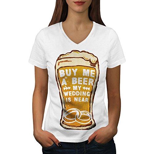 wellcoda Bier Hochzeit Party Hirsch Frau V-Ausschnitt T-Shirt Junggeselle Grafikdesign-T-Stück