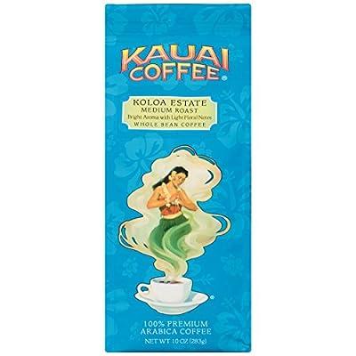Kauai Whole Bean Coffee, Koloa Estate Medium Roast – 100% Premium Arabica Whole Bean Coffee from Hawaii's Largest Coffee Grower - Bright Aroma with Light Floral Notes (10 Ounces)