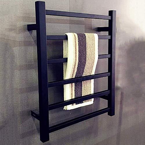 LYMHGHJ Calentador de Toallas eléctrico con calefacción, toallero de Acero Inoxidable, toallero eléctrico con 6 Barras cuadradas montadas en la Pared (31,5 x 19,7 x 4,7 Pulgadas), Negro, cableado