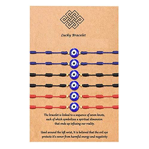 COMEYER 6 Piezas Pulsera de cábala 7 Nudos de Hilo Rojo protección Ocular Pulseras de Buena Suerte
