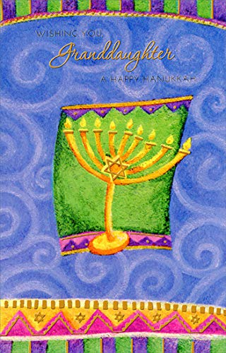 Freedom Greetings Menorah on Green and Purple: Granddaughter Hanukkah Card