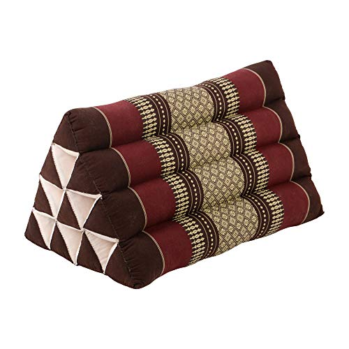 RM Design Thai Dreieckskissen aus Baumwolle mit Kapok Füllung, Outdoor Kissen Long Beach 50x30x30 cm, Yogakissen in braun rot