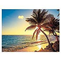 ビーチの風景サンセットダイヤモンド絵画キット大人の初心者のためのビーチヤシの木のフルドリルキャンバスアート写真、手芸ギフトホームウォール装飾(12×16インチ)アクセサリーポイントペンキ宝石数字