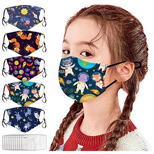 Huacat 5 Stück Mundschutz + 10X Filter Kinder Baumwolle Bandana Verstellbarer Hängendes Ohr StaubschutZ Atmungsaktive Waschbar Face Halstuch