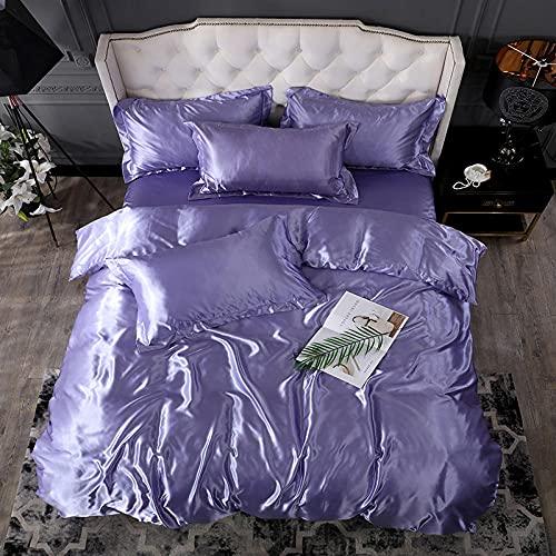 juego de ropa de cama 160x200,Lavar la seda de hielo es una hoja de manga cuatro conjuntos de regalos de suministros de cama de color sólido-T_1,8 m de cama (4 piezas) (20 series de 200 * 230)