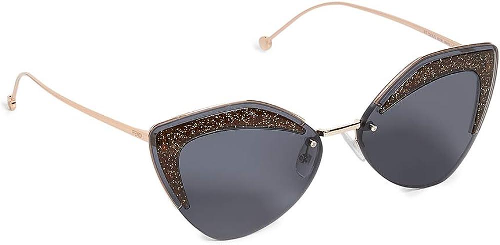 Fendi, occhiali da sole per donna, montatura in metallo, inserti a contrasto sulla parte frontale 0355/SB