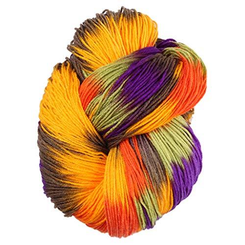 Angelliu 1x50g Pelote De Laine Moyenne Epaisse,Fil À Tricoter Multicolore pour Pulls, Cardigans, Couvertures