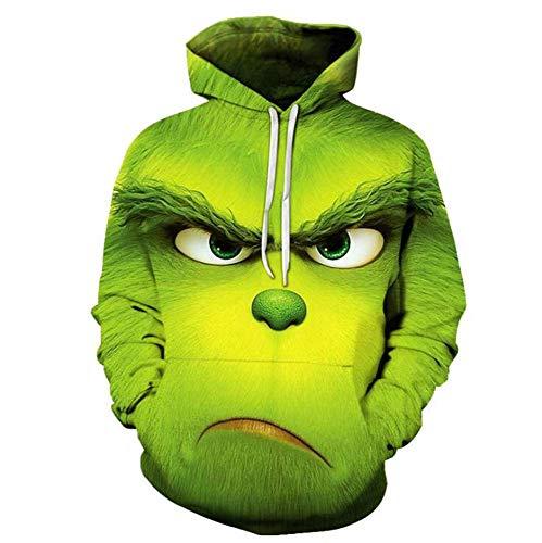 domorebest Unisex Grinch Pullover Kapuzenjacke Sweatjacke How The Grinch Stole Christmas 3D Druck Kapuzenpullover Sweatshirt Zipper Hoodie