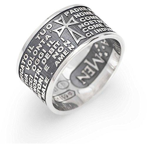 anello uomo gioielli Amen Padre Nostro Italiano misura 28 offerta casual cod. PNB925-28