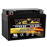 Weize YTX9-BS Battery Maintenance Free For Motorcycle ATV Honda TRX 400EX Sportrax Fourtrax GSXR600 LTZ250 ZX600, Polaris Predator 500,Suzuki GSX-R600 YTX9 ETX9 BS Batteries