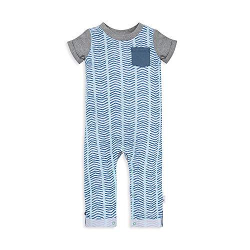 Burt's Bees Baby baby-boys Matelasse Organic Baby Kimono One Piece Jumpsuit, Watercolor Chevron, 3-6 Months