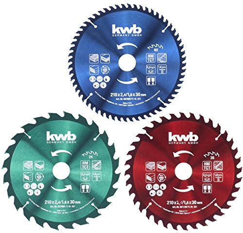 kwb Circular Saw Blade Set 210 x 30/20 / 16 mm for Hand-held Circular saws or Circular Table saws for Panels and Building Materials Made of Wood incl. Reduction Rings to 16 and 20 mm