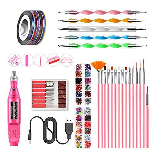 Anself Kit de Máquina de taladro de uñas eléctrico Esmalte de uñas Pintura de uñas Bolígrafo Punto de pulido Bloque de pulido Divisor de dedos Kits de archivo de uñas