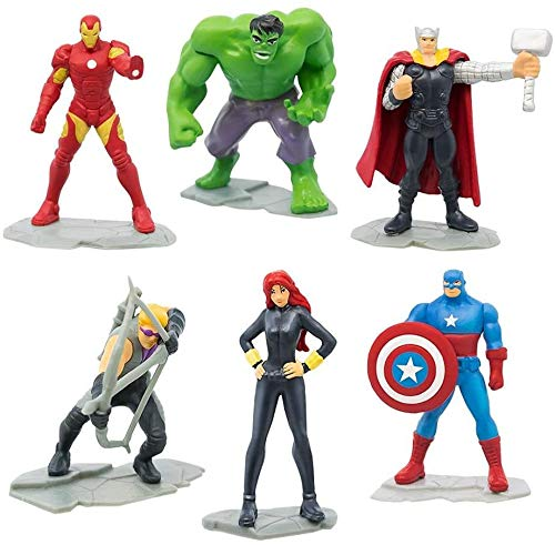 Marvel Avengers Set 6 Mini Figuren 5cm Kuchen Topper Cake Topper Hulk Iron Man Thor Captain America Black Widow Hawkeye Original