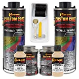 Custom Coat Federal Standard Color # 33446 Desert Tan T80 Urethane Roll-On, Brush-On or Spray-On Truck Bed Liner, 2 Quart Kit with Roller Applicator Kit - Textured Car Auto Protective Coating