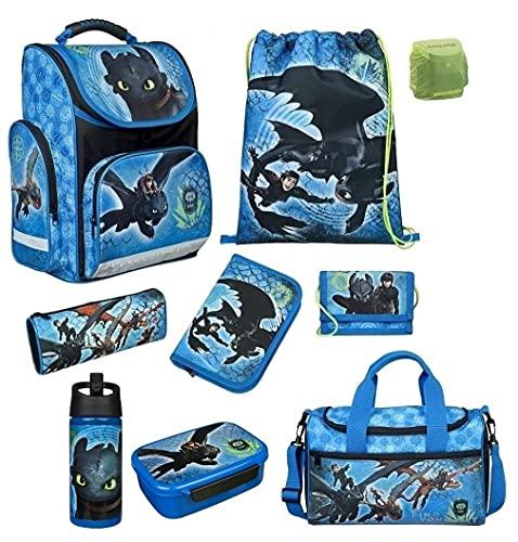 Scooli Schulranzen-Set 9 tlg. Dragons - Drachenreiter von Berg - mit Dose Flasche Sporttasche Federmappe Regenschutz