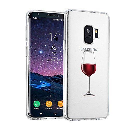 AIsoar ersatz für Samsung Galaxy S9 Hülle, Samsung Galaxy S9 Handyhülle TPU Crystal Stylisch Transparent Schutzhülle Anti-Fingerabdruck Anti-Rutsch Kratzfest Stoßfest Hülle für Samsung S9 (Weinglas)