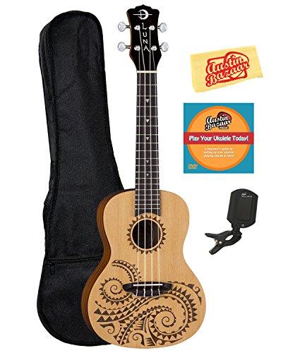 Luna Guitars Tattoo Spruce Concert Ukulele Bundle with Gig Bag, Tuner, Austin Bazaar Instructional DVD and Polishing Cloth